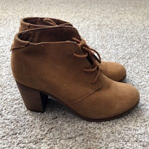 TOMS Suede Laced Heeled Desert Ankle Booties